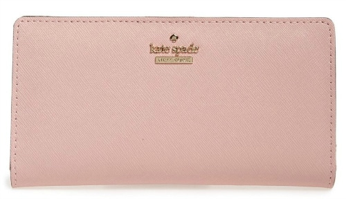 A new wallet is always a welcomed gift to receive or to get for yourself! This Kate Spade textured leather wallet in pretty blush pink has lots of pockets for bills and credit cards