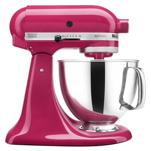 Kitchen Aid Artisan Mixer - looks good just sitting on the counter and better when whipping up recipes in the kitchen. It comes with 15 attachments too to make lots of different recipes and in 42 colors!