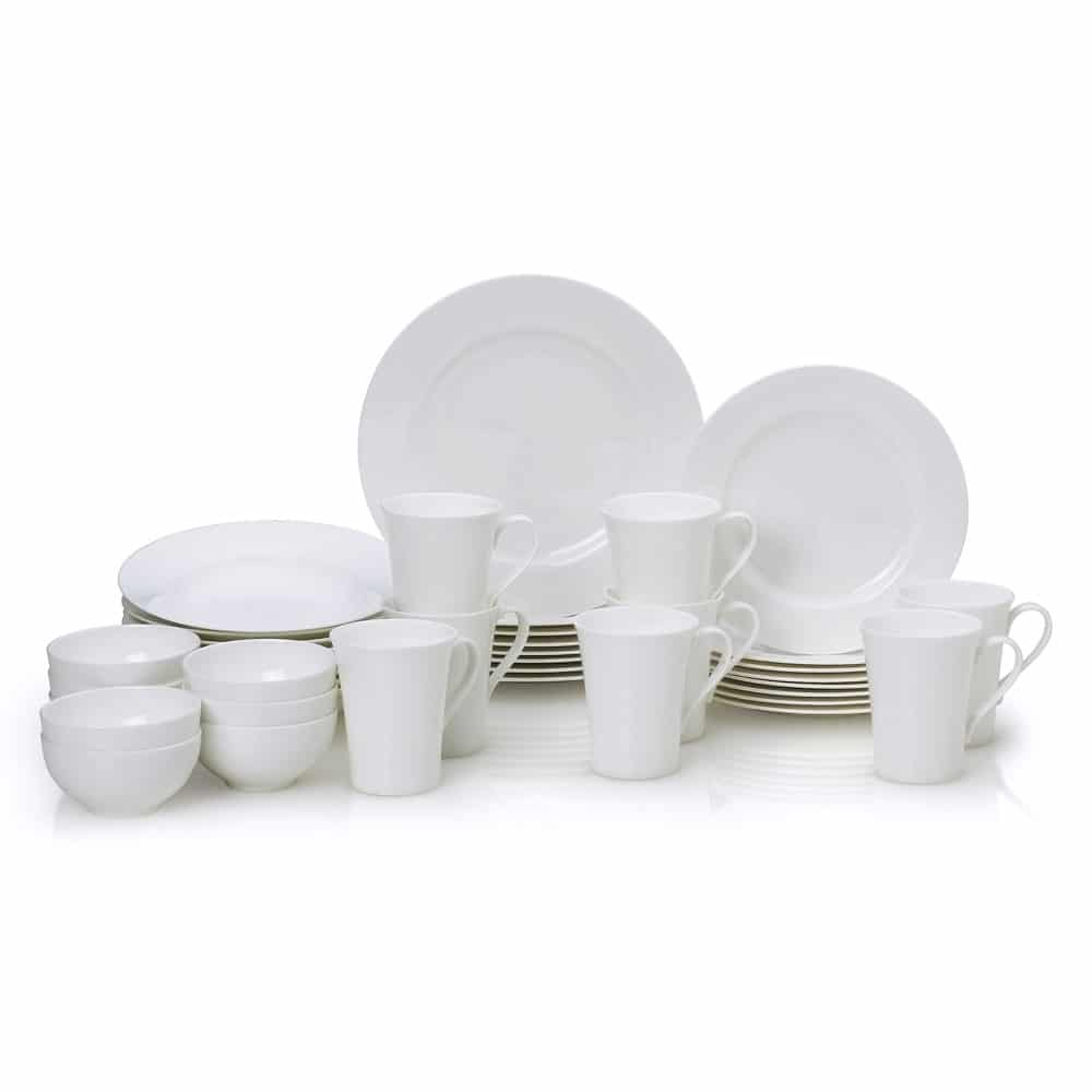 Mikasa bone china dinnerware set in Lucerne White. I love the simple design of this white dinnerware - it goes with everything and is dishwasher and microwave safe!