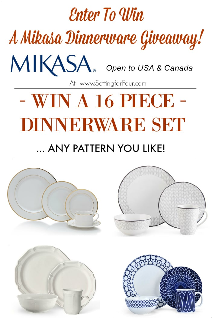 Enter to win this Mikasa Giveaway for a chance to win a Mikasa 16 piece dinnerware set - any pattern! Open to USA and Canada