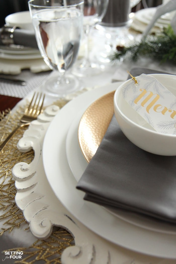 Holiday Home Decor Ideas: See this design blogger's elegant HOLIDAY CHIC dinner party table and an exciting Mikasa Dinnerware Giveaway - sponsored - to win one 16 piece dinnerware set!