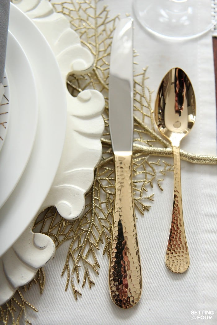 Holiday Home Decor Ideas: See this design blogger's elegant HOLIDAY CHIC gold and white table setting and an exciting Mikasa Dinnerware Giveaway - sponsored - to win one 16 piece dinnerware set!