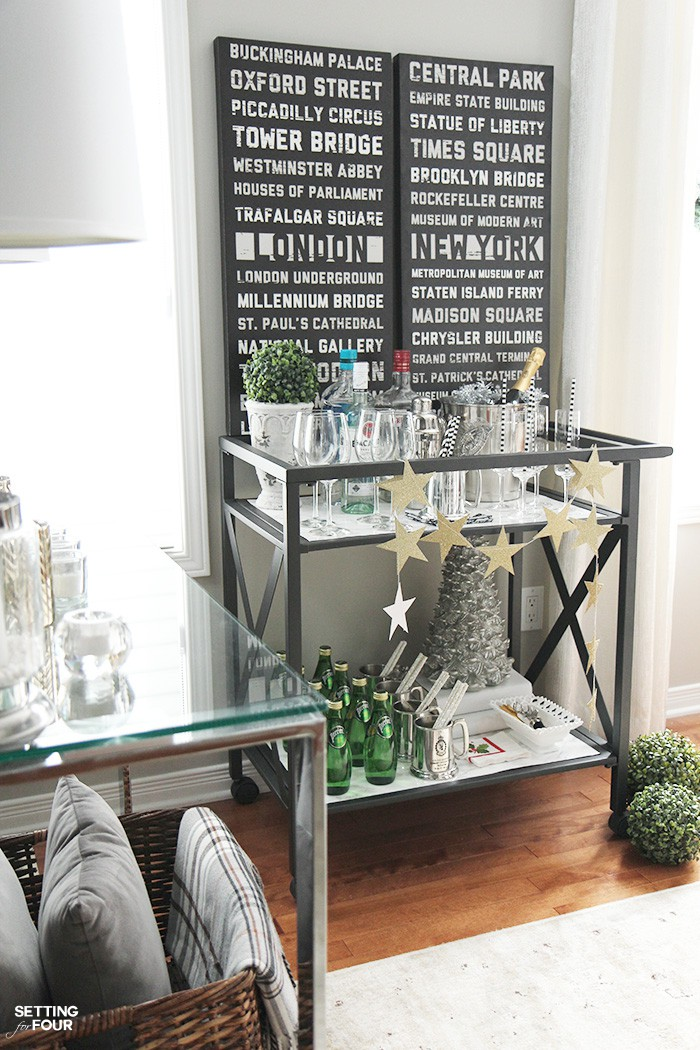 How To Style A Bar Cart For The Holidays Setting For Four