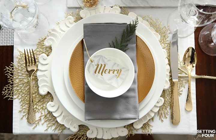 Holiday Home Decor Ideas: See this design blogger's elegant HOLIDAY CHIC white table setting and an exciting Mikasa Dinnerware Giveaway - sponsored - to win one 16 piece dinnerware set!