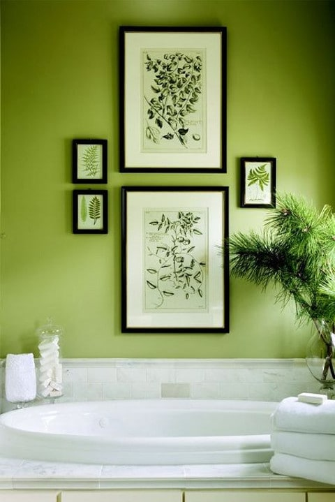 Bathroom wall paint in Pantone Color of the Year Greenery