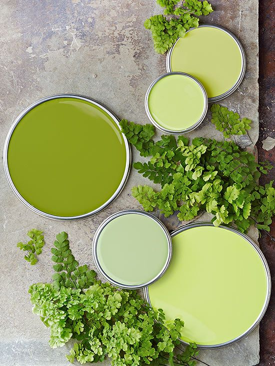 Paint palette and color inspiration for Pantone Color of the Year 2017 Greenery.