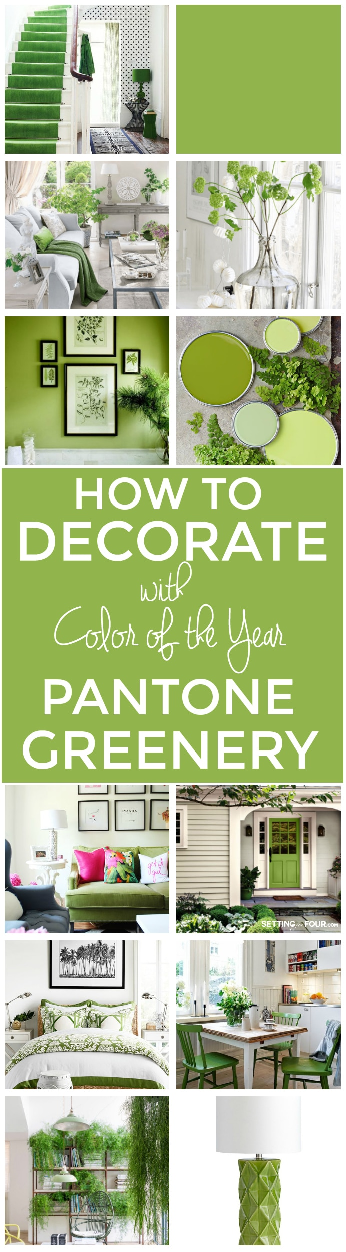 How to Decorate with Pantone Color of the Year 2017: Greenery. A beautiful paint color for the home.