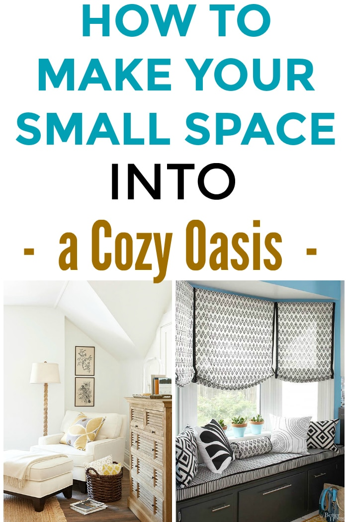 How to Create 5 Cozy Small Spaces That Are Warm And Homey! Learn how to turn any small corner or nook in your home into a cozy little oasis. See inspirational homey and inviting spaces that are perfect for reading, catnaps and relaxing with a cup of coffee or tea!