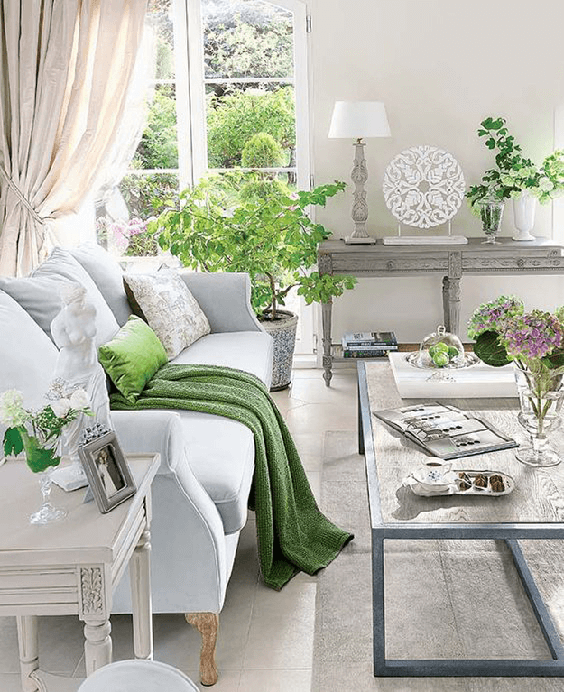 Add Pantone Color of the Year 2017 Greenery to your home with pillows and throw blankets.