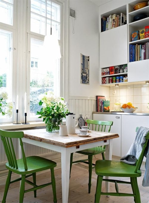 Wooden chairs painted in Pantone Color of the Year 2017 GREENERY.
