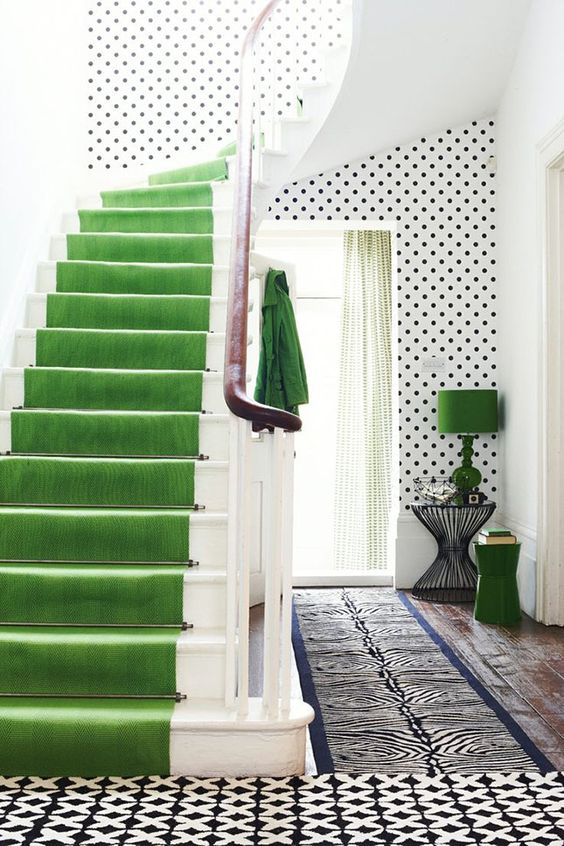 Stair runner in Pantone Color of the Year 2017 GREENERY.