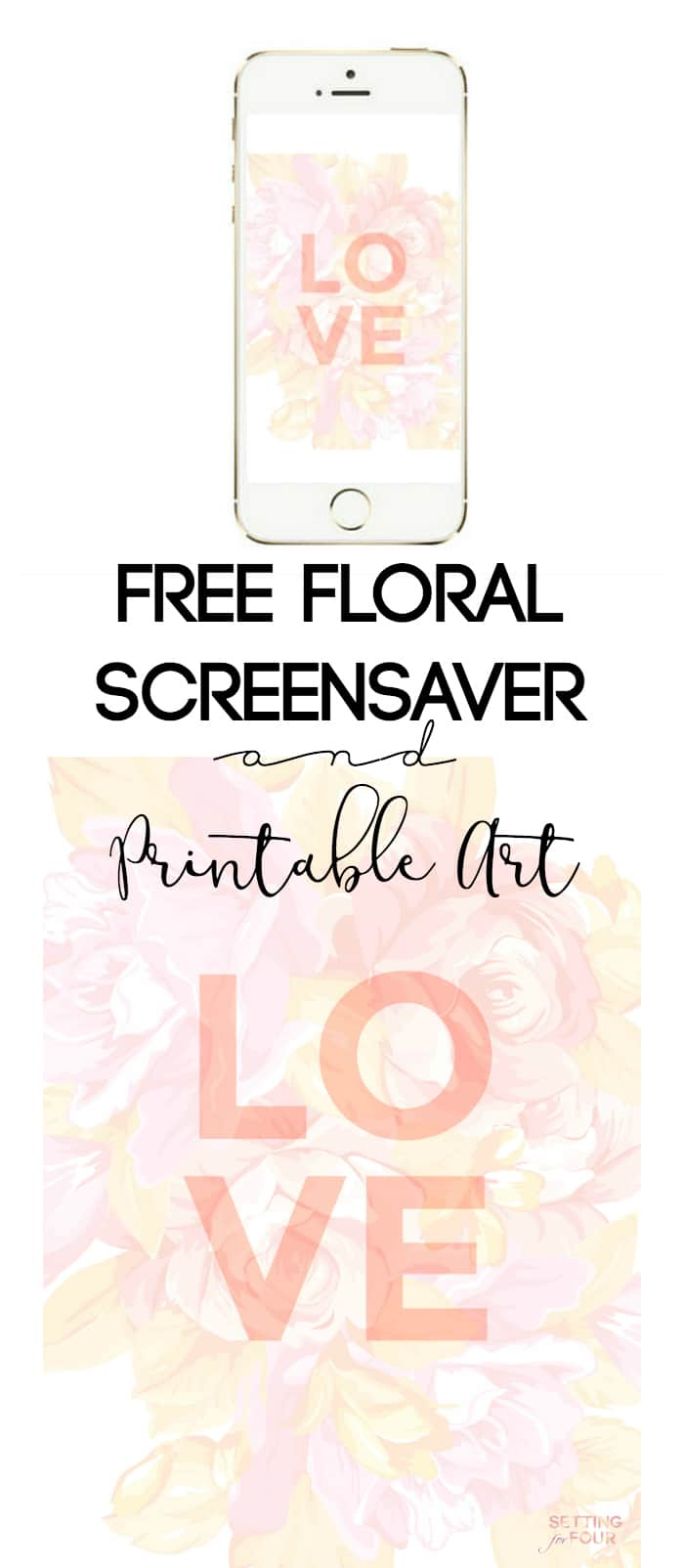 Get your FREE Floral iPhone, iPad Wallpaper and Printable Art Download! This beautiful floral graphic is perfect to frame for a gallery wall or make it your iPhone and iPad screensaver! Makes a great wedding, shower, baby nursery and Valentine's Day idea too!