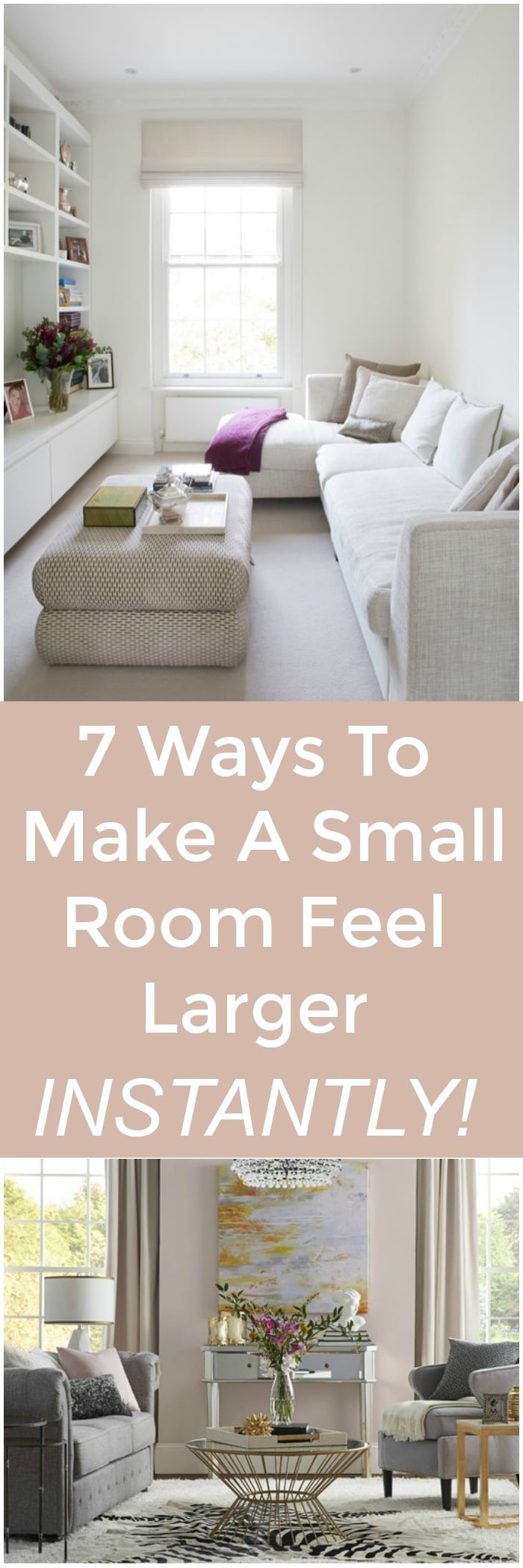 7 Ways To Make A Small Room Feel Larger Instantly! #room #livingroom #larger #design #decor #interiors #decortips #decorideas