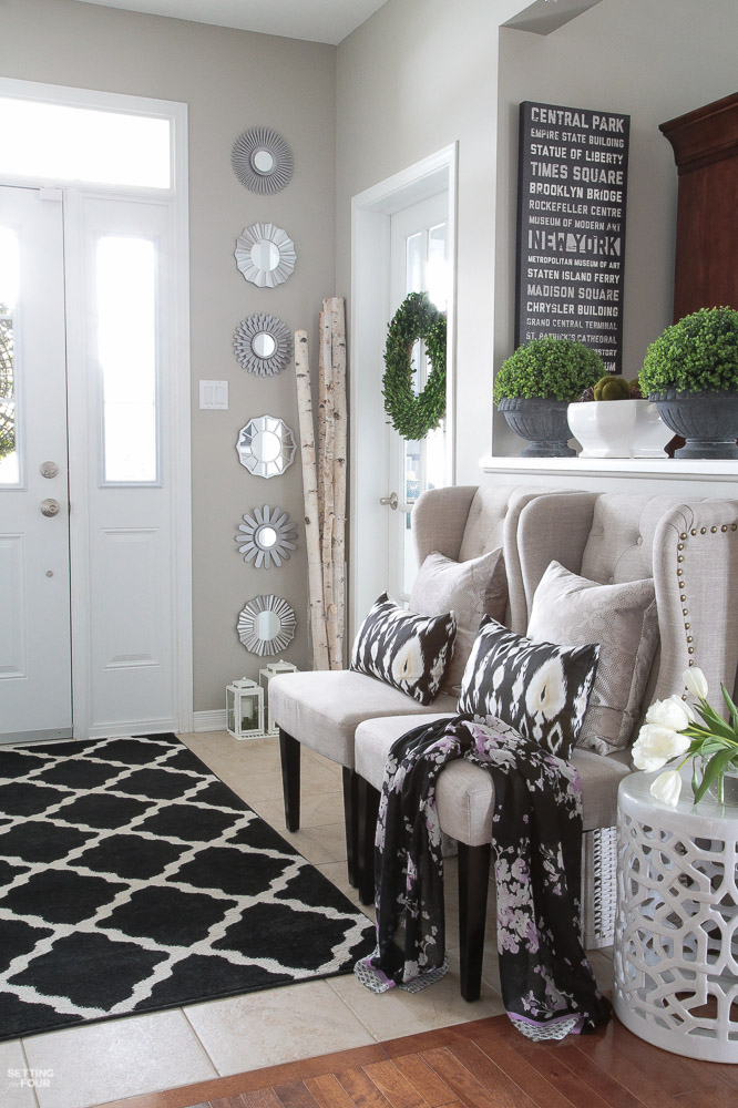 Spring Home tour and spring home decor ideas for the foyer and living room.