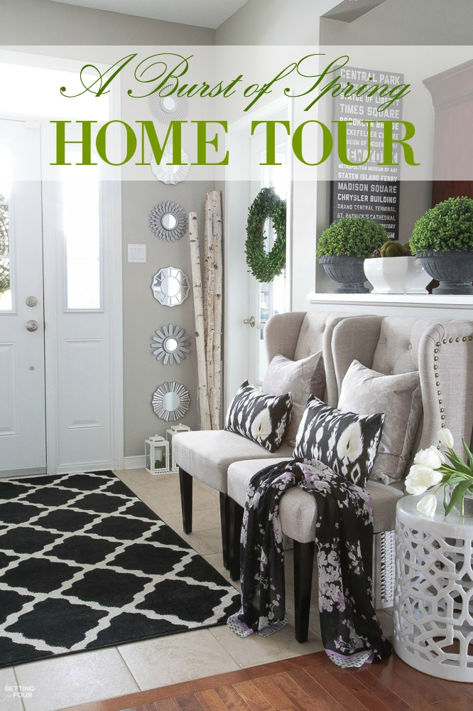 Come see my 'BURST OF SPRING' Home Tour! Loads of fresh spring decor ideas for your house using boxwood, tulips, springtime color and fabrics! Lots of Spring home design and decor inspiration in this Spring foyer: Spring wreath, tulip arrangements, blush pink pillows.