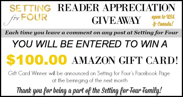 Enter my Reader Appreciation Giveaway for a chance to win a $100 Amazon Gift Card!