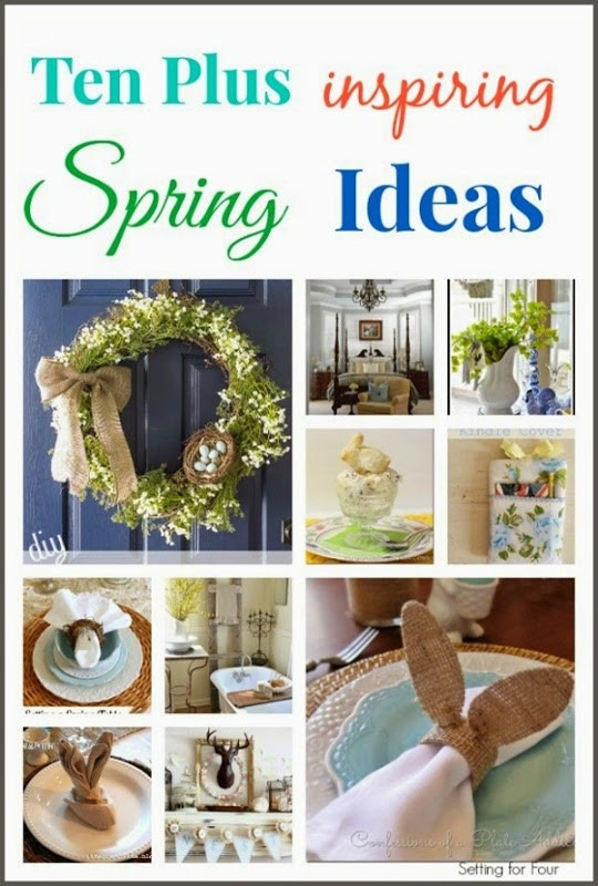 Ten Plus Inspiring Spring and Easter decor ideas! I love this gorgeous Spring wreath, bunny napkin fold and DIY rabbit napkin ring!
