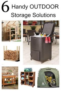 Keeping your outdoor space tidy, neat and safe is absolutely doable when you have functional ways to store all of that stuff! Check out these 10 plus handy and clever outdoor storage options for garden tools, garden hoses, bikes, firewood, outdoor toys, plants, outdoor pillows and chair pads.