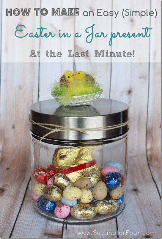 Quick and Easy DIY Easter Gift In A Jar - see the tutorial and supply list to make this adorable gift that's fast to make!