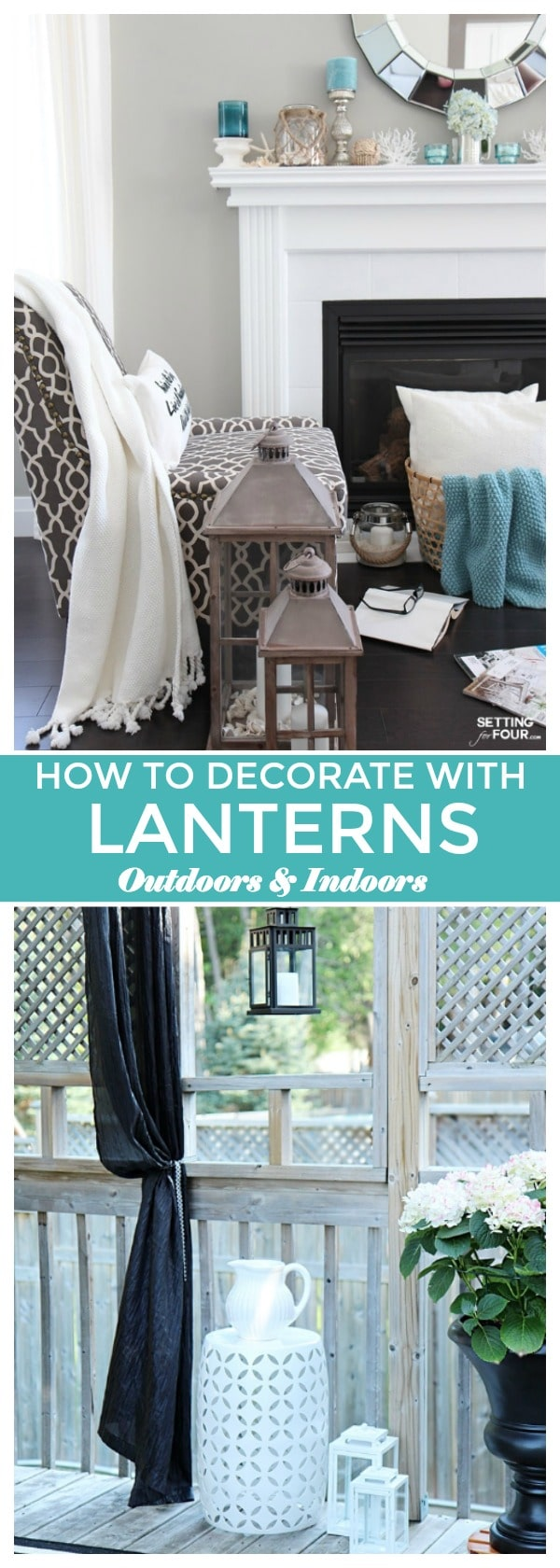 Decorating with Lanterns - Outdoor and Indoor Ideas - Setting for Four