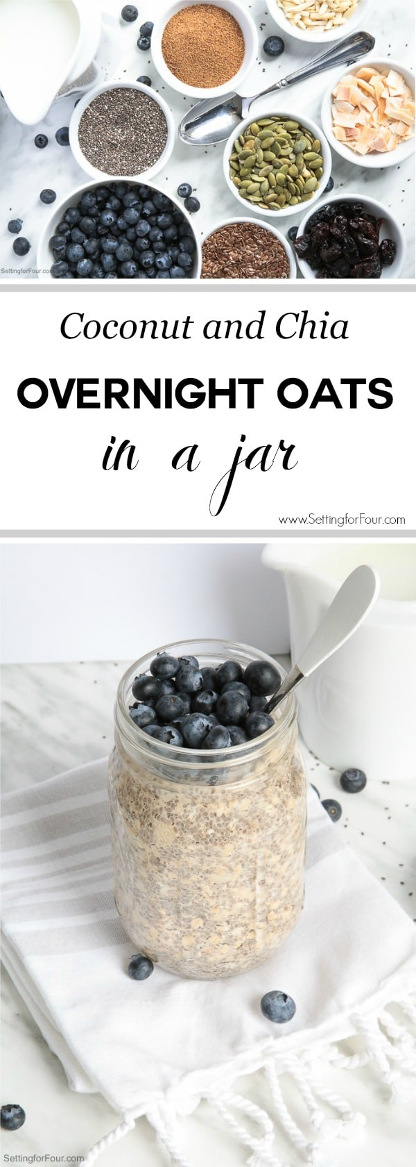 Coconut and Chia Overnight Oats In A Jar: Make this quick & yummy overnight oats recipe for a healthy breakfast or snack that's loaded with muscle-building protein and energy-boosting complex carbs. Grab and go - it's made in a mason jar! Naturally sweetened with organic coconut sugar that has a delicious brown sugar-like taste.