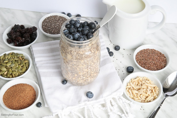 Healthy chia seed overnight oats recipe and delicious topping ideas. Make ahead breakfast idea! #ad