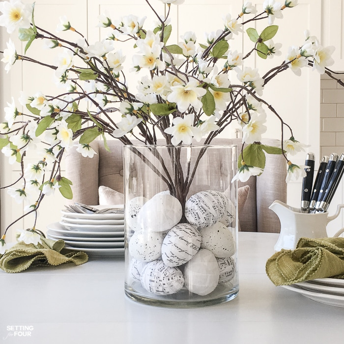 Floral Arrangement With Diy Easter Egg Filler Setting For Four