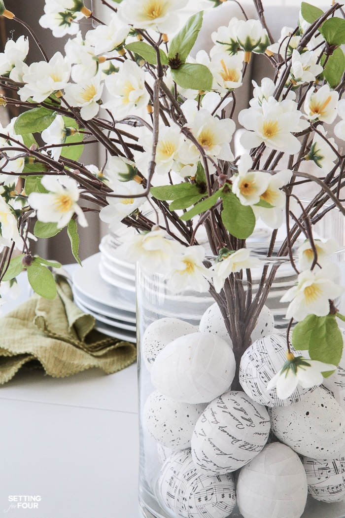 Floral Arrangement With Diy Easter Egg Filler Setting