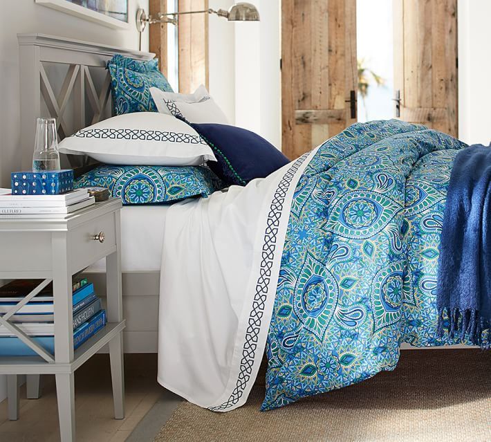 Refresh your bedroom with this gorgeous Pottery Barn bed and bedding.