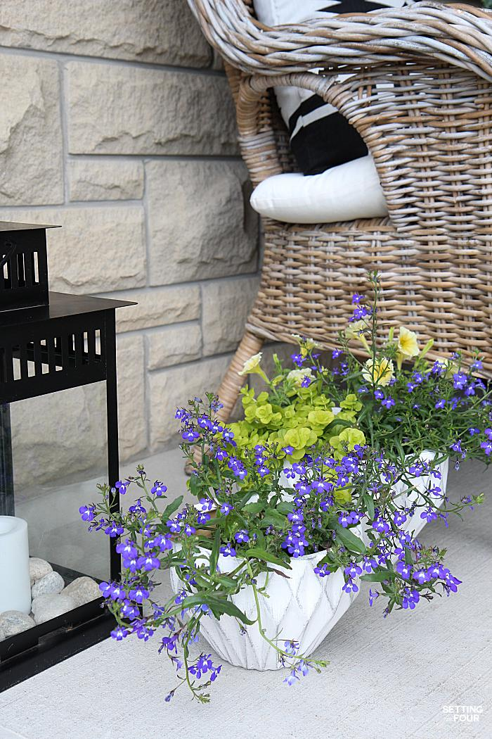 Summer home tour and summer decorating ideas. Wicker chairs, blue colored lobelia planters and outdoor lanterns.