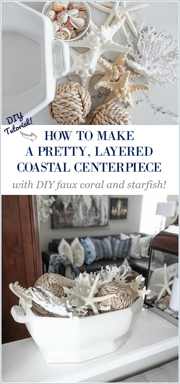 A Pretty Faux Coral & Starfish Coastal Summer Centerpiece - Setting ...