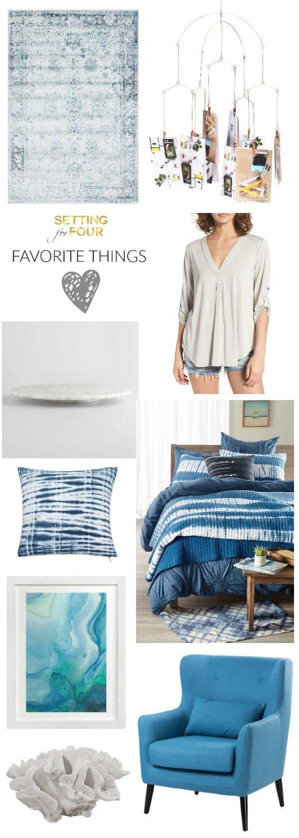 See my latest favorite things and style ideas to freshen up your home decor and closet with the color blue, coastal looks, marble, abstract art, coral objects, flowy tops, photo mobile and shibori prints!