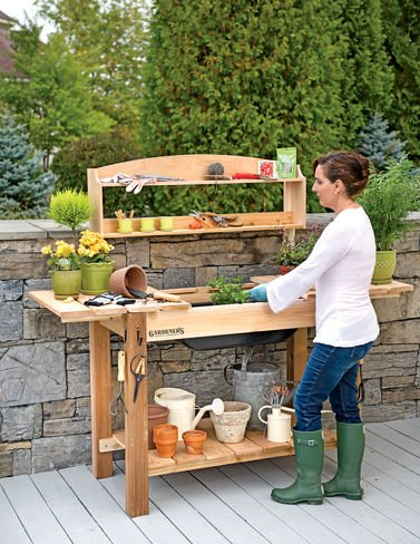 10 Plus Handy and Clever Outdoor Storage Solutions - A potting bench is a must!