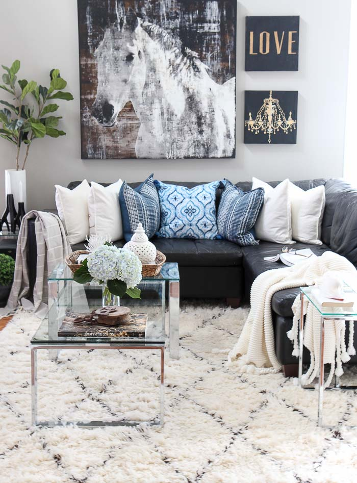 Looking for summer decorating ideas? Love blue? See this shades of summer home tour and decorating tips to update your home. See the stylish and sophisticated indigo blue, black and gray color scheme used in this living room and entire home!
