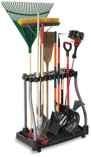 How to Organize your home and outdoor space! A tool tower packs a lot of punch and will store everything from outdoor brooms, shovels, rakes and hoes!