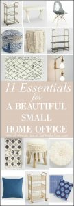 Don't think you have room for a home office? YES YOU DO! Here are 11 ESSENTIALS TO CREATE A BEAUTIFUL SMALL HOME OFFICE! Using small space furniture that's big on style and function you can make every inch count and create a beautiful home office zone in a weekend!. Layer in my accent decor ideas loaded with personality, texture and color to motivate you as you keep your home and family organized!