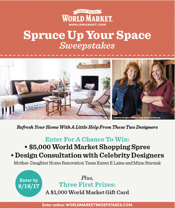 Spruce Up Your Space Sweepstakes - Enter to win amazing prizes from Cost Plus World Market! #ad