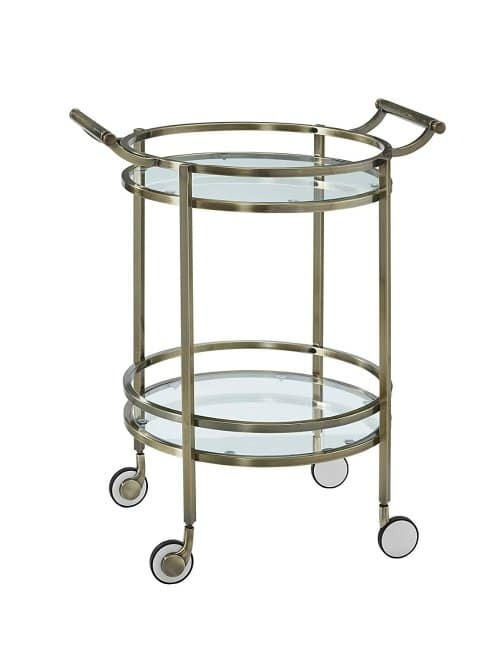 I'm obsessed with bar carts! This brass style is gorgeous! Love the handles and wheels - so stylish!