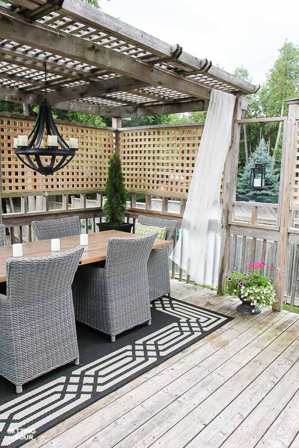 Exterior DIY home decor idea: DIY outdoor drapery rods for your gazebo or porch. Quick and Easy!