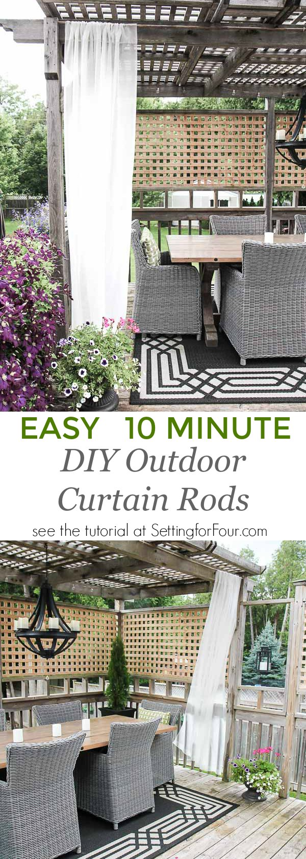 Learn How To Make And Hang These Easy Diy Outdoor Curtain Rods In Just 10 Minutes