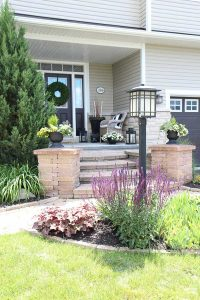 See my landscaping around a lamp post tips and tricks to blend a lamp post into the front of your home and improve it's appearance! Lamp posts tend to stick out like a sore thumb and look bare - especially if they are in the front yard - but there are ways to garden around it by adding flowers and plants to increase your home's curb appeal!