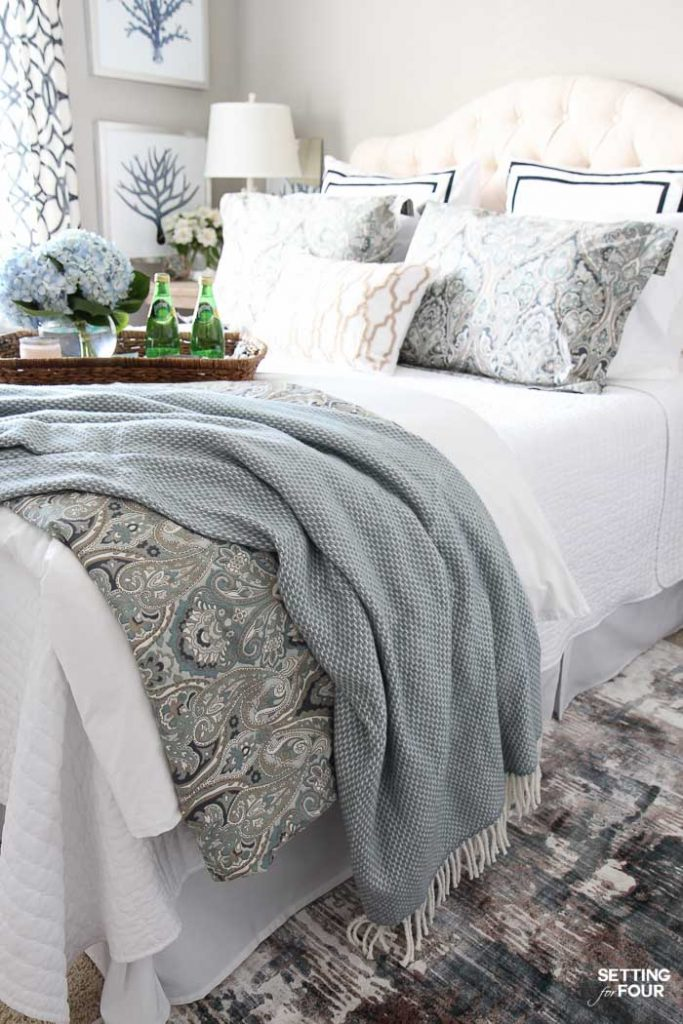 See 12 ways to create a cozy guest bedroom your company will love! See all of the beautiful home decor, bedding and furnishing essentials to create an welcoming oasis for your guests that's filled with personality, hospitality and relaxation!