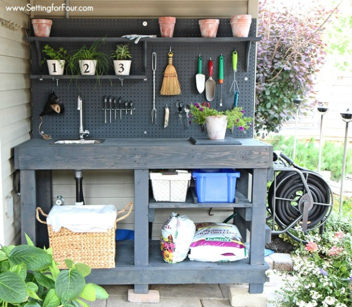April Home Checklist - Home Improvement Tips and DIY potting bench to make for gardening projects.