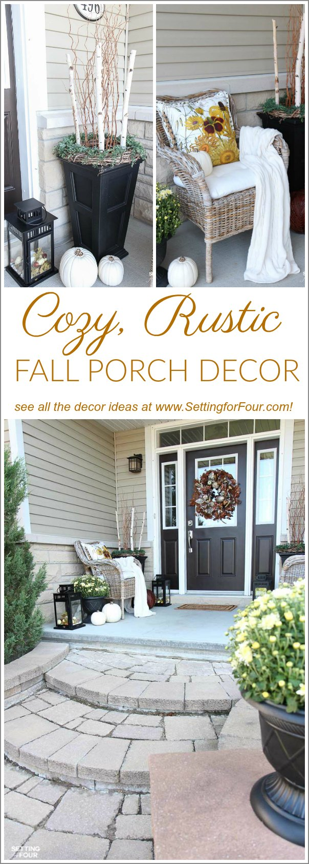 Cozy Rustic Fall Porch Decor - Setting for Four
