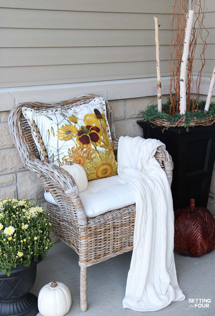 Cozy Rustic Fall Porch Decor Setting for Four