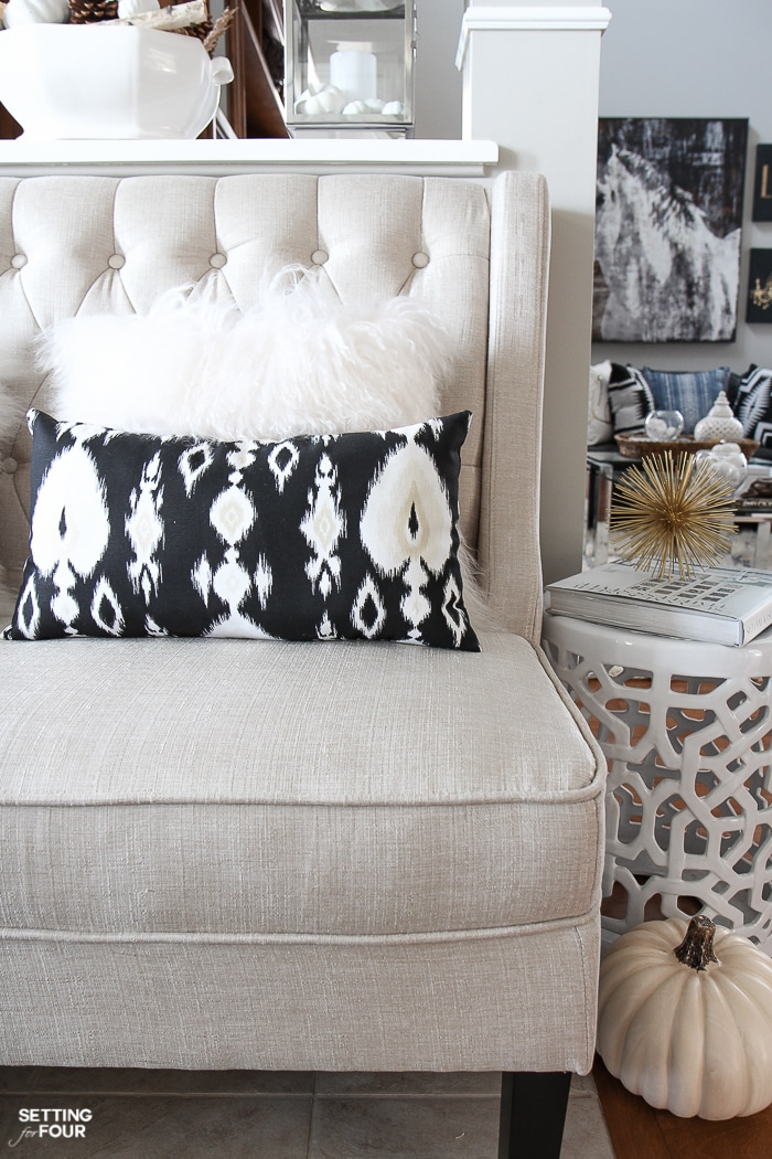See how I'm using this beautiful neutral colored, button tufted settee that I just added to our foyer for seating! I include the online source of it too!