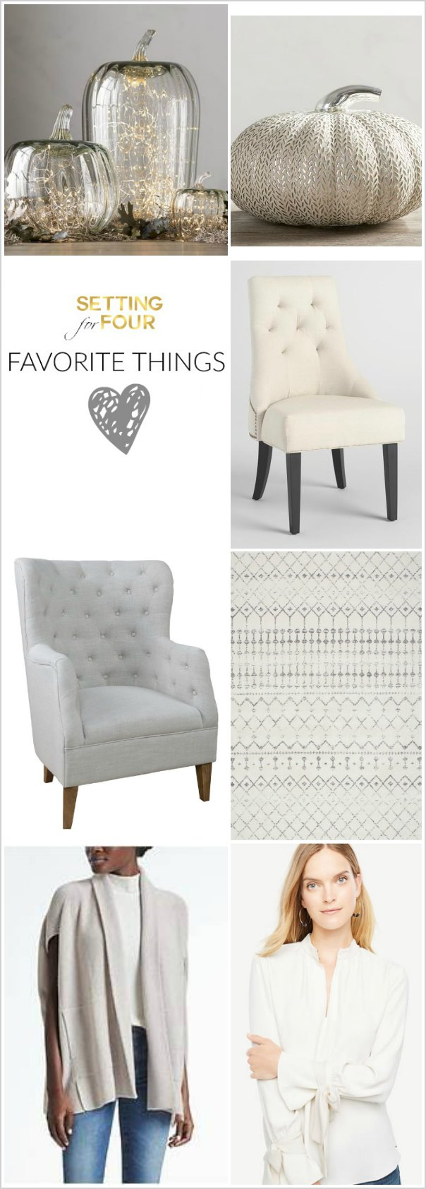 See my Home Decor, Furniture and Fashion Favorites for FALL!! I'm also sharing BIG WEEKEND SALES and SHOPPING COUPON CODES to save money! Add some coziness to your home and closet for autumn. Beautiful Pumpkins, tufted chairs, gray rug, gray cardigan, bow tie sleeve blouse.