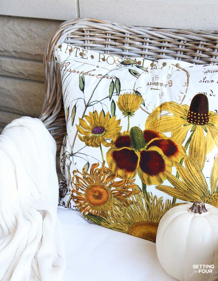 DIY Home Decor idea: Update your fall decor in an instant with throw pillows in a gorgeous floral pattern! Create an entire color palette for a space using your pillows - see how!