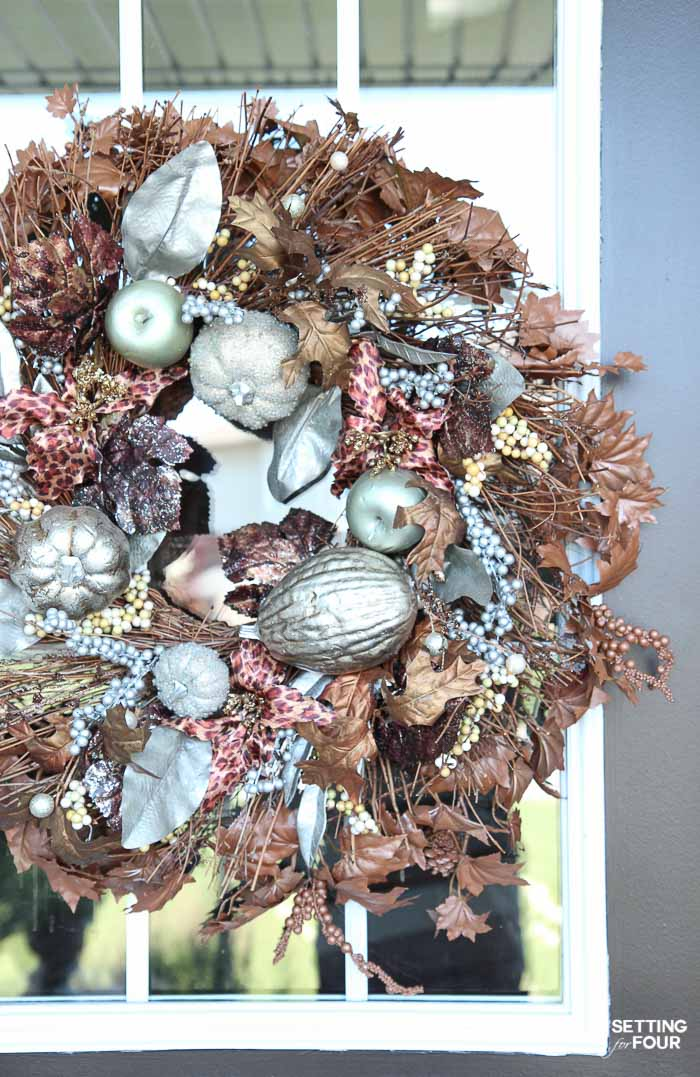 See this simple DIY trick to refresh a store bought Fall wreath!