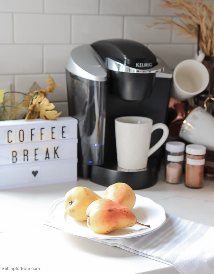 This Mini light box coffee break sign adds some fun to a quick and easy Fall Coffee Bar setup!